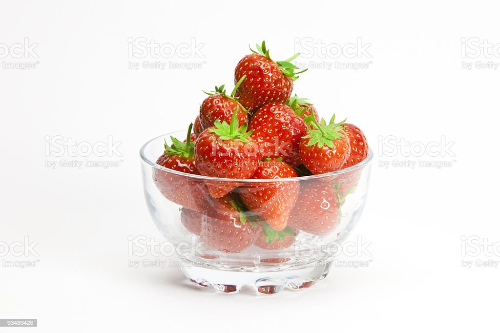 Strawberries in a glass bowl royalty-free stock photo