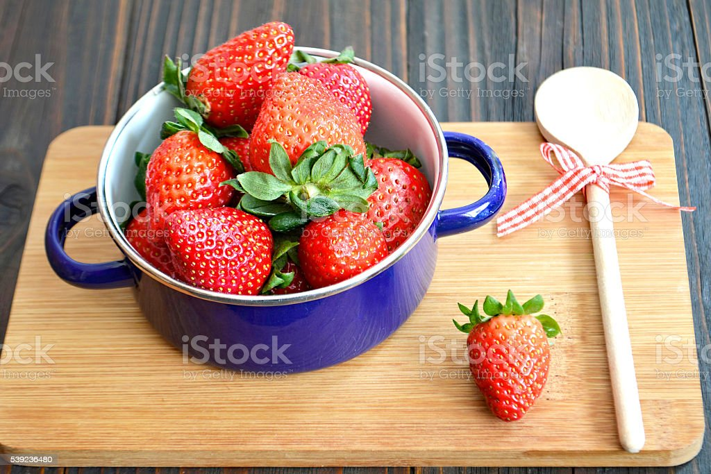 Strawberries in a pan royalty-free stock photo
