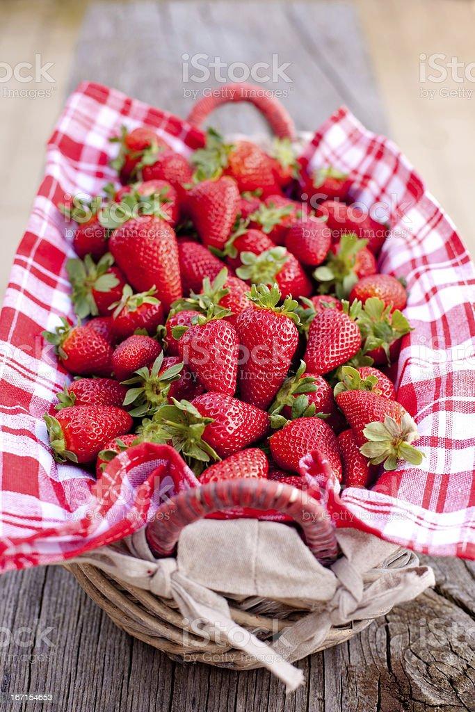 strawberries in basket royalty-free stock photo