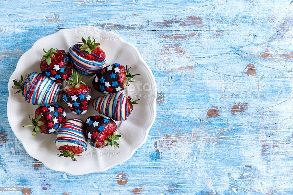 Strawberries in chocolate stock photo