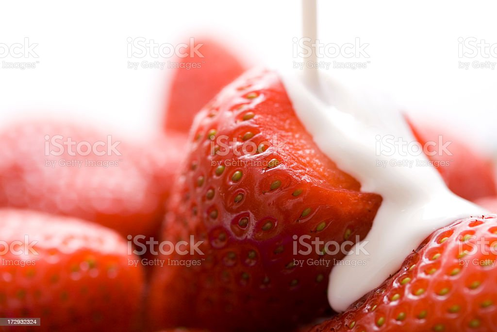 Strawberries in cream stock photo