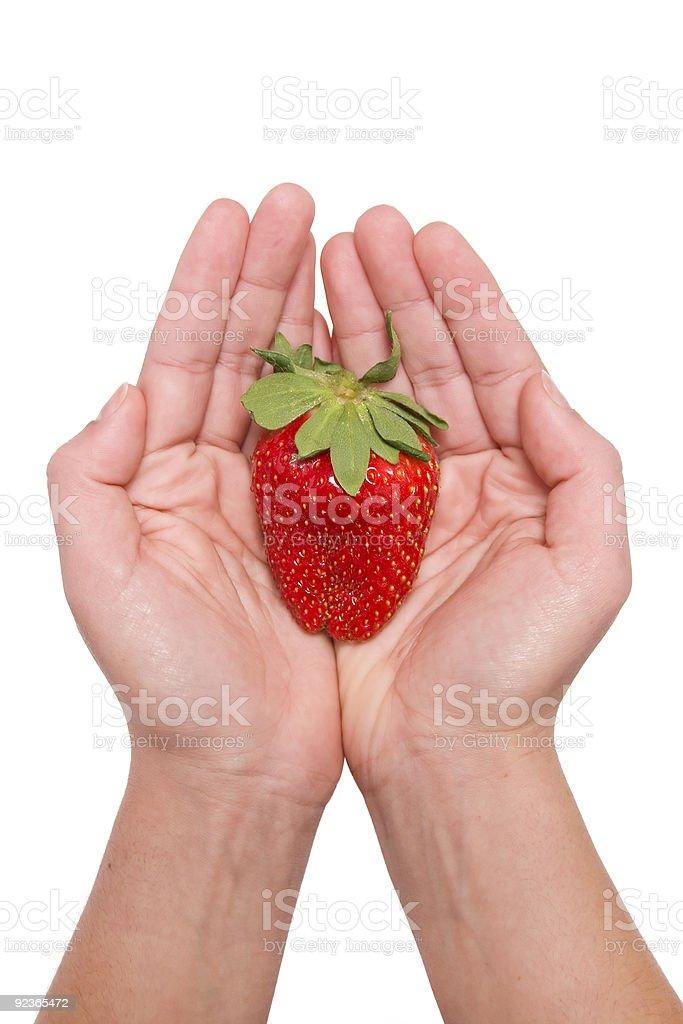 Erdbeeren in der hand Lizenzfreies stock-foto