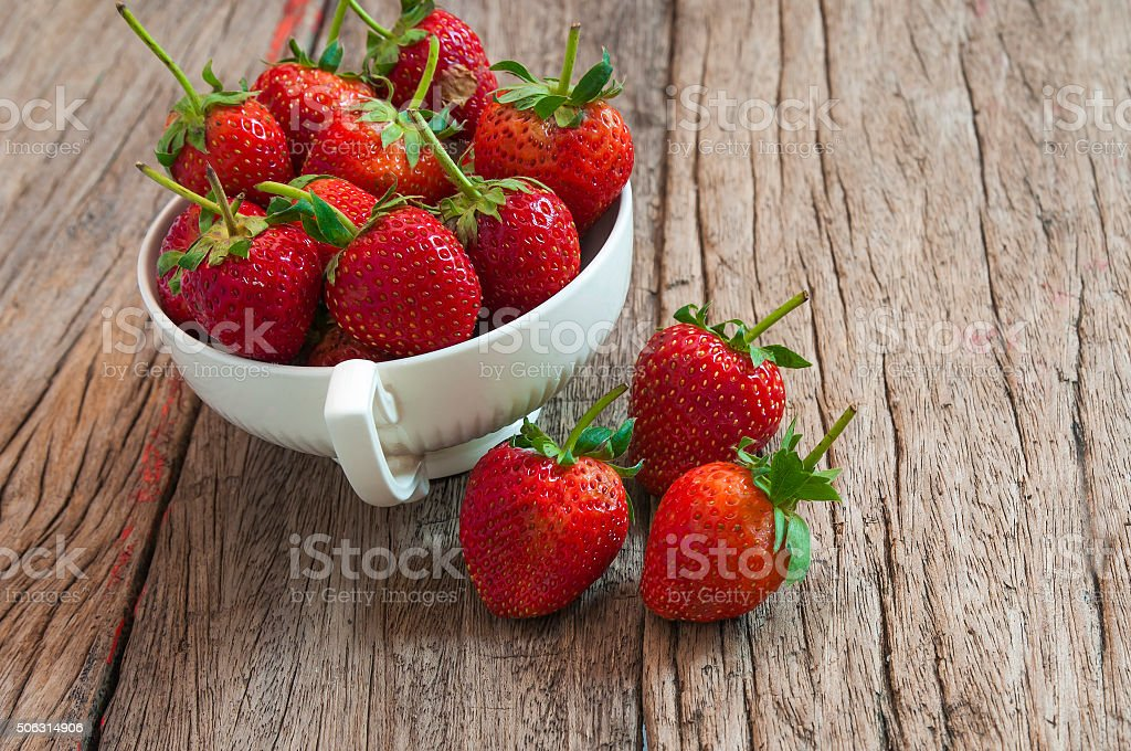 Strawberries ,In white cup, Thailand stock photo