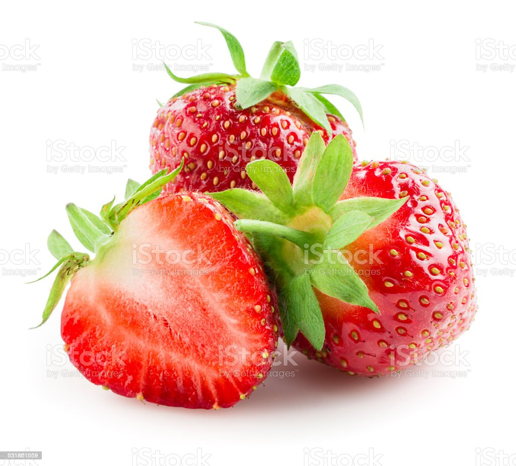 Strawberries isolated on a white background. stock photo