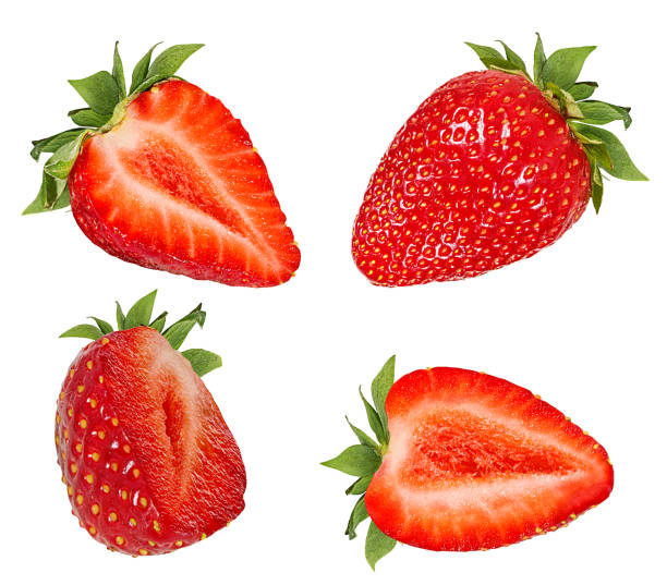 strawberries isolated on white background with clipping path - strawberry imagens e fotografias de stock