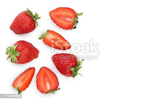 Strawberries isolated on white background with copy space for your text. Top view. Flat lay pattern.