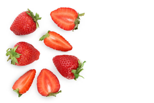 strawberries isolated on white background with copy space for your text. top view. flat lay pattern - strawberry imagens e fotografias de stock