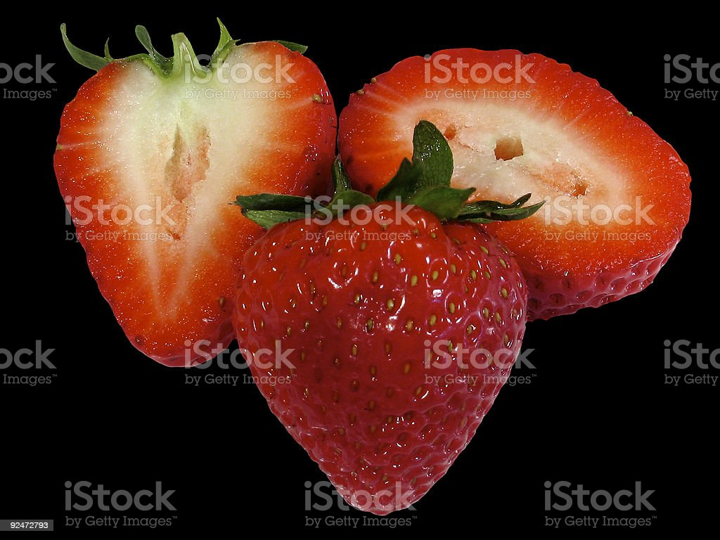 Strawberries on Black royalty-free stock photo