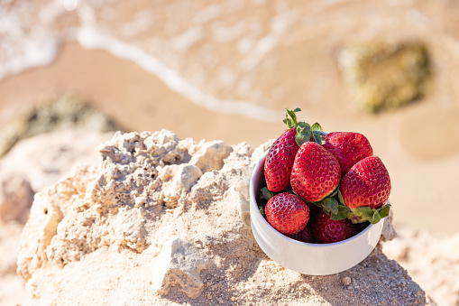 strawberries on the background of the sea