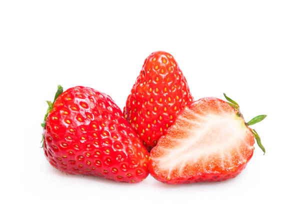 strawberries on white background - strawberry imagens e fotografias de stock