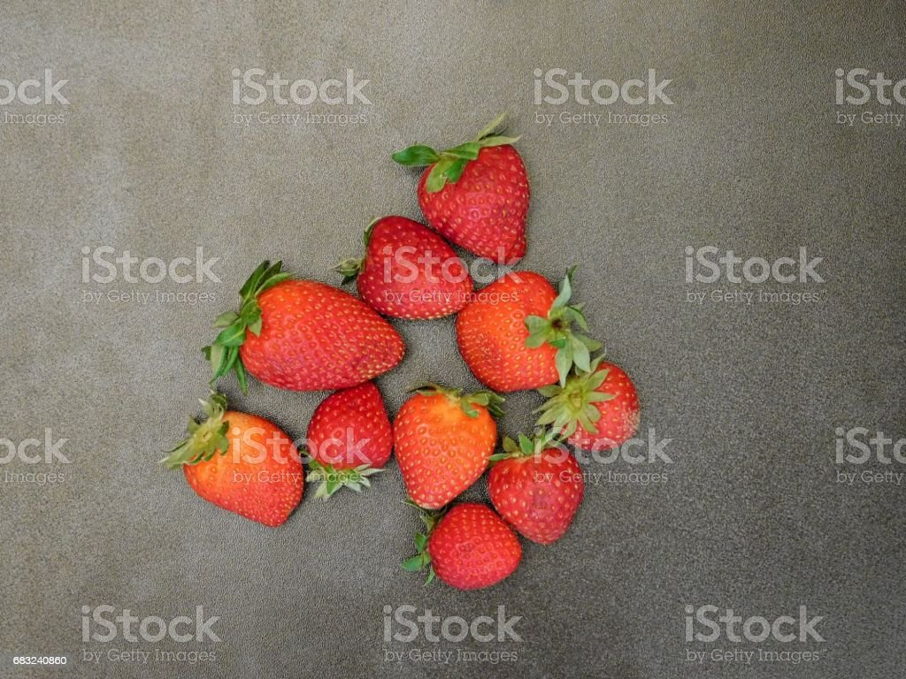 Strawberries on wooden background royalty-free 스톡 사진