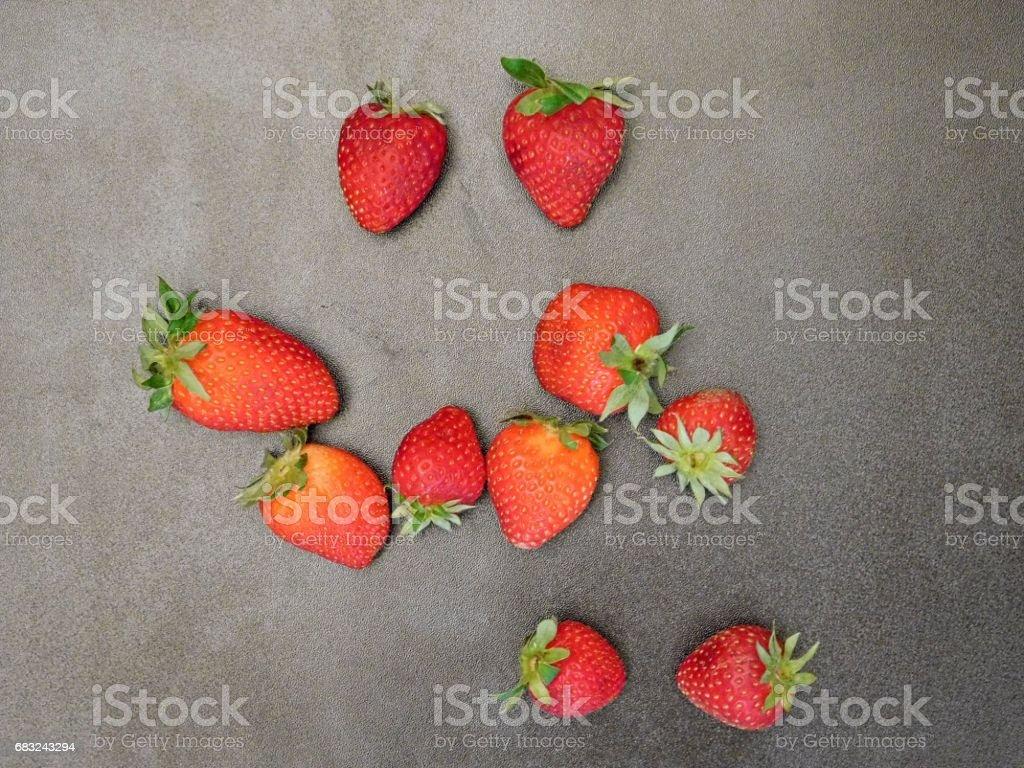 Strawberries on wooden background ロイヤリティフリーストックフォト