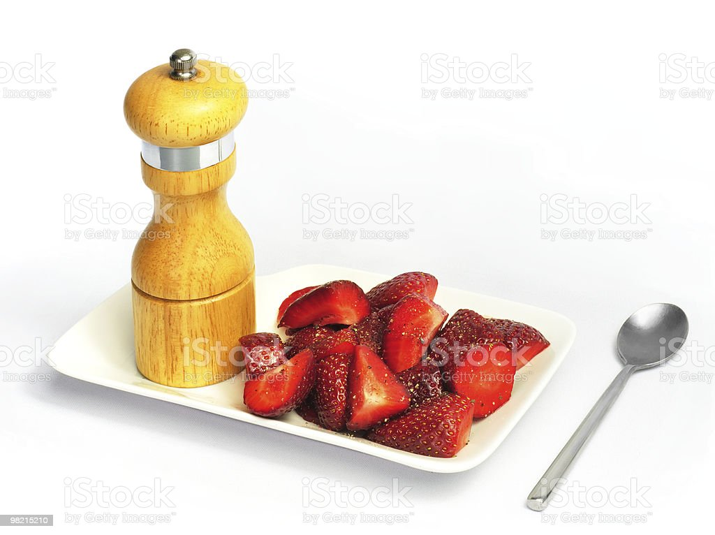 Strawberries & Peppermill royalty-free stock photo