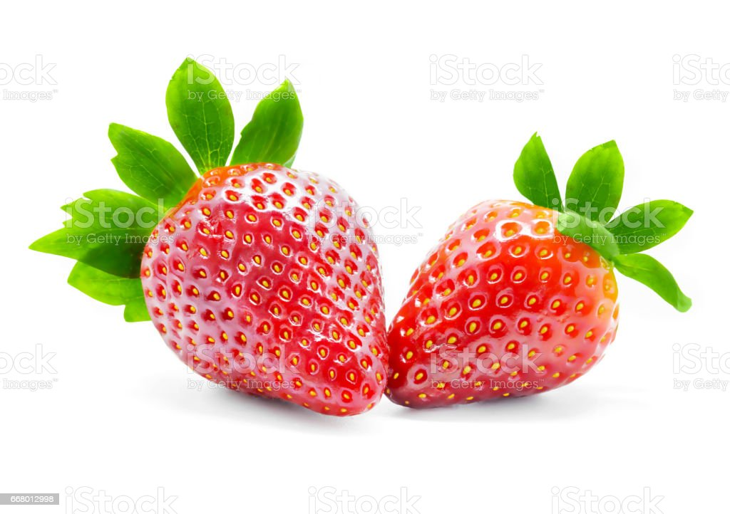 Strawberries with leaves isolated on a white background. stock photo