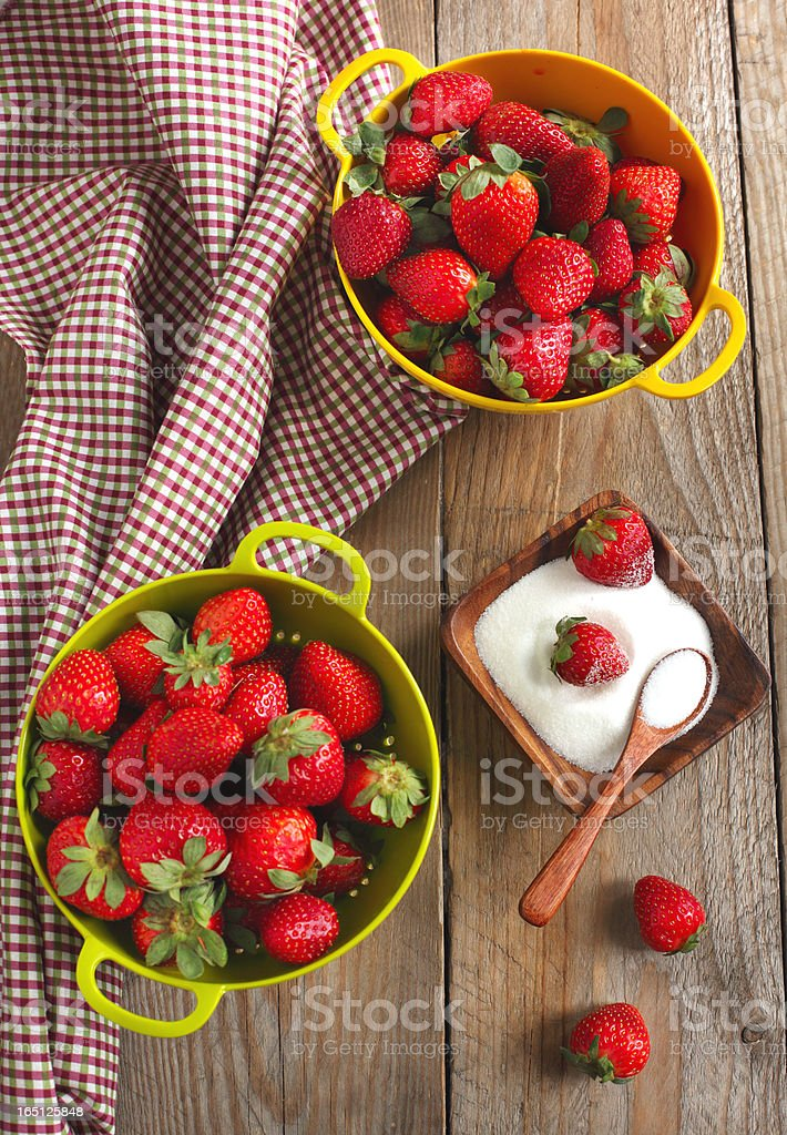 Strawberries with sugar royalty-free stock photo