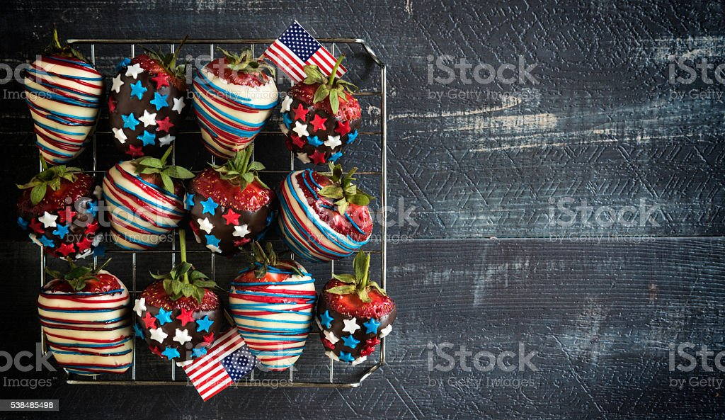 Strawberries with USA flag decoration stock photo