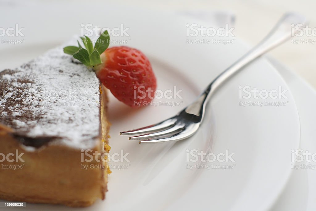 Strawberry and Chocolate dessert with fork; macro wide view royalty-free stock photo