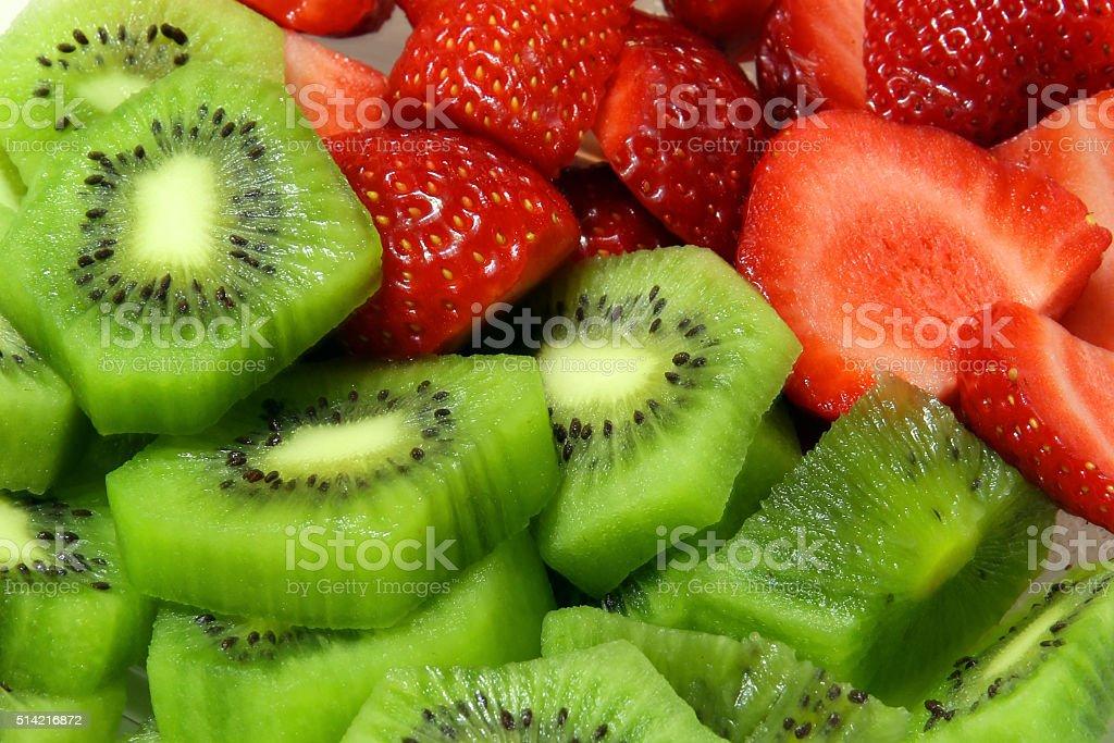 strawberry and kiwi fruit slices stock photo