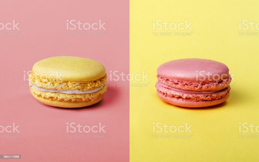 Strawberry and Lemon flavor french Macarons stock photo