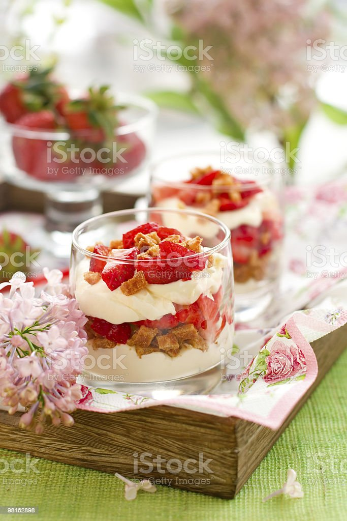 Strawberry and mascarpone trifle royalty-free stock photo