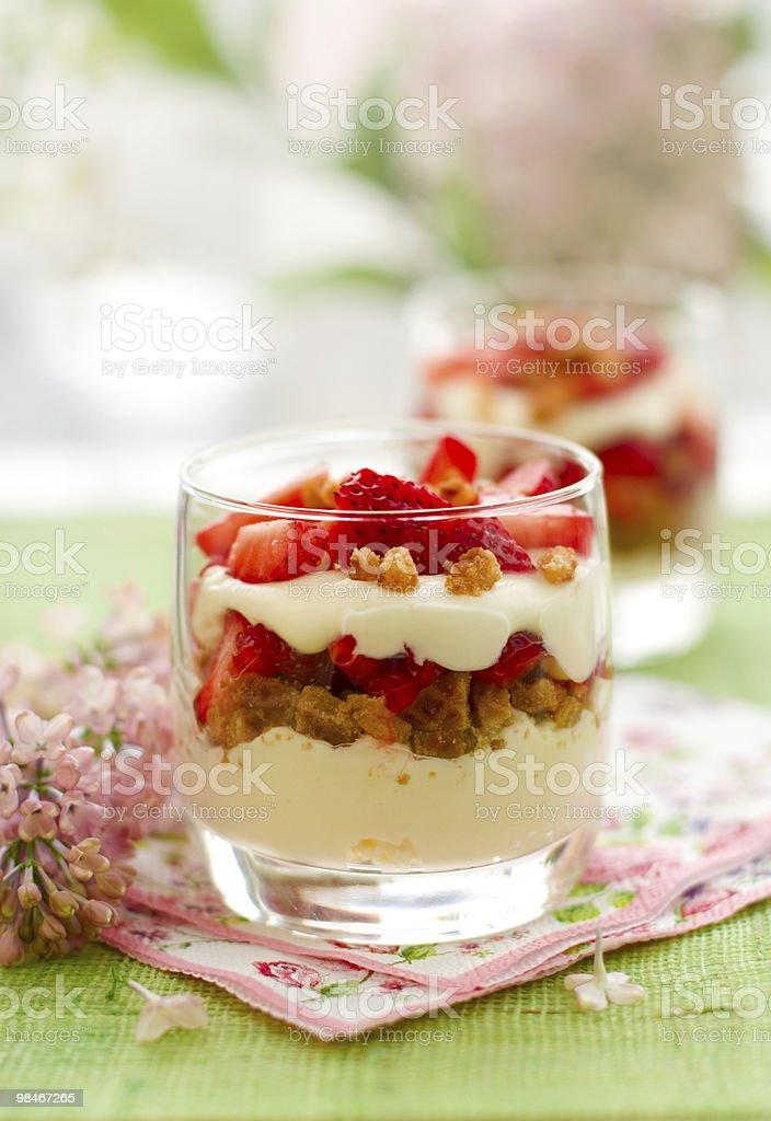 Strawberry and mascarpone trifle stock photo