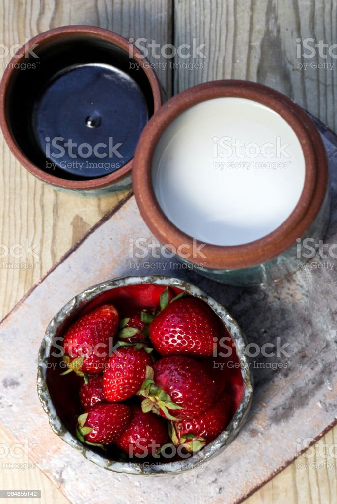 Strawberry and milk royalty-free stock photo
