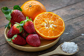 strawberry and orange fruit vitamin diet for healthy