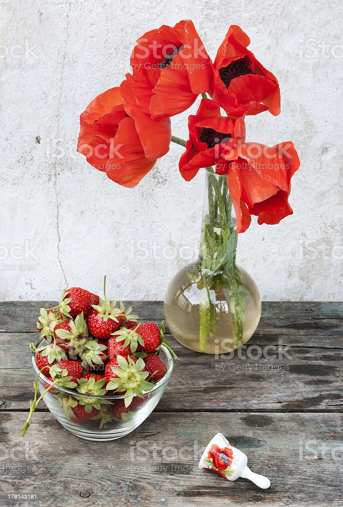 strawberry and poppies still life royalty-free stock photo