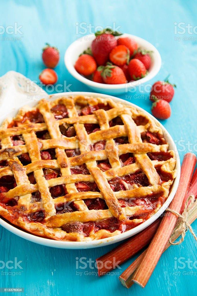 Strawberry and rhubarb pie stock photo