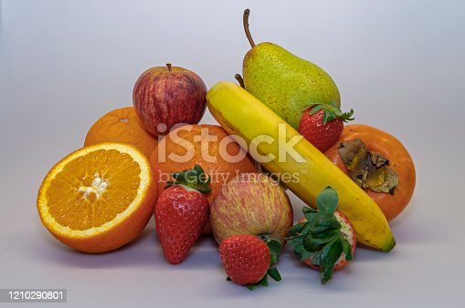 istock Strawberry, Apple, Banana, Rock Pear, Orange, Persimmon. Varied fruit essential for a healthy and balanced diet. 1210290801