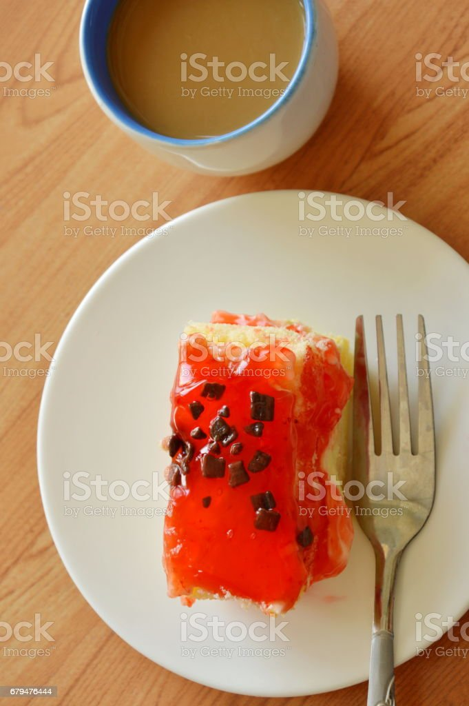 strawberry butter cake topping chocolate chip with fork 免版稅 stock photo