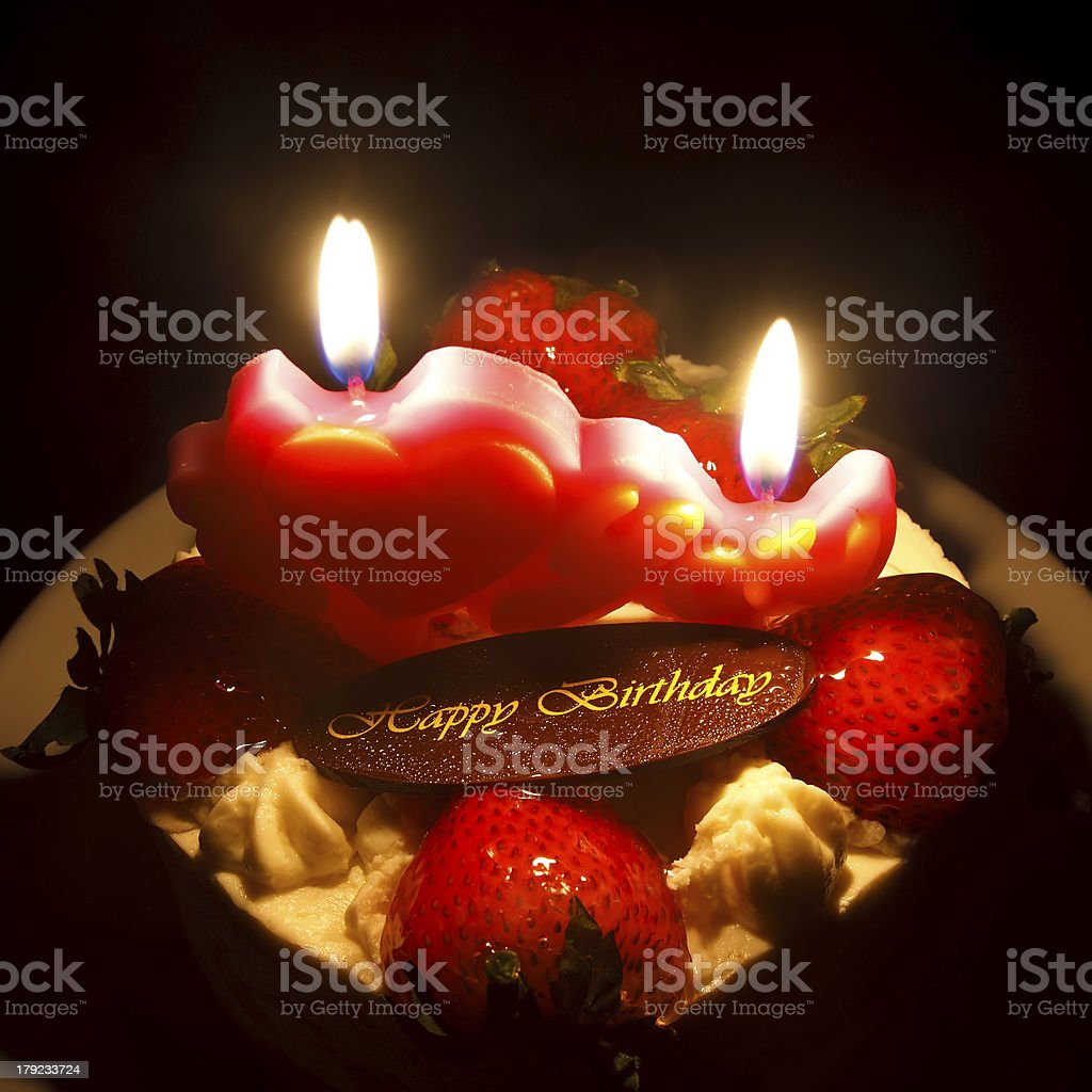 Strawberry Butter Cream Cake For Birthday On Candlelight Feeling