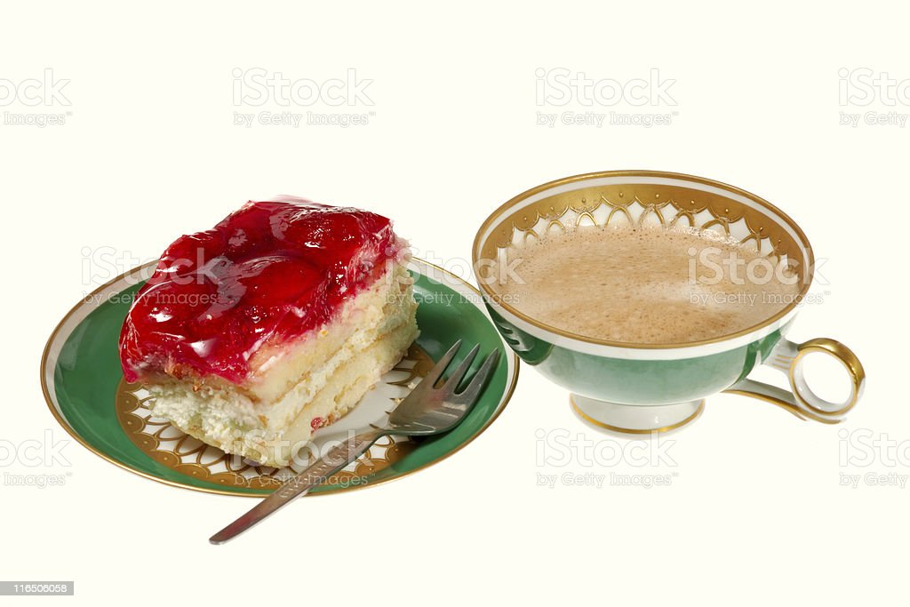 strawberry cake and a cup of coffee, isolated on white royalty-free stock photo