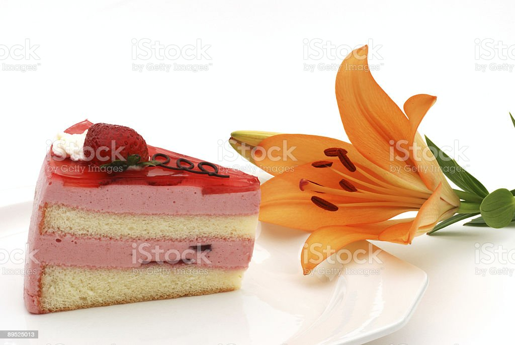strawberry cake and lily flower royalty-free stock photo