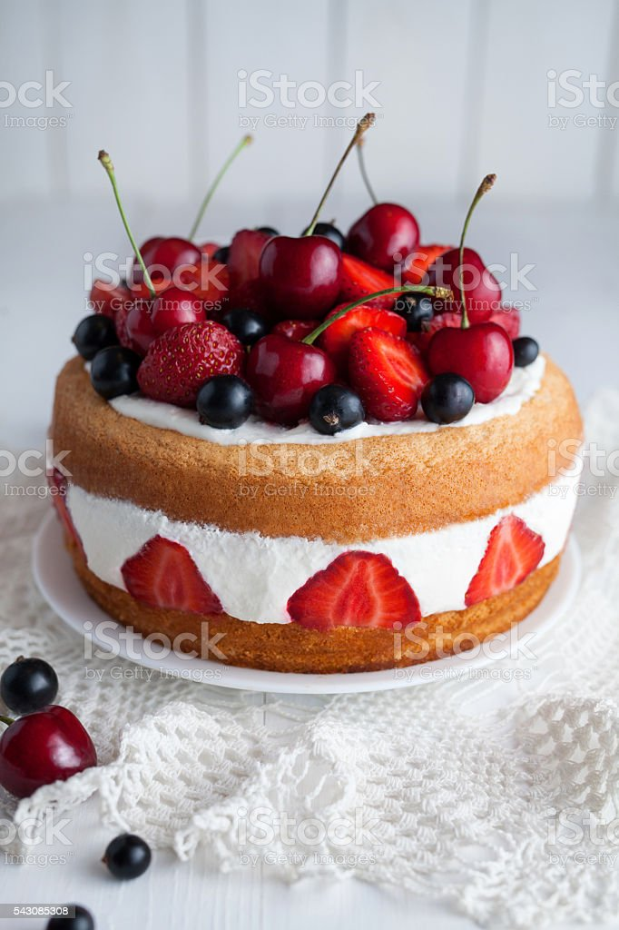 Strawberry cake homemade gourmet sweet dessert bakery food stock photo
