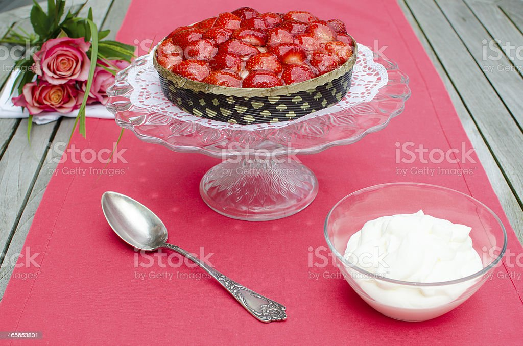 Strawberry cake with cream royalty-free stock photo
