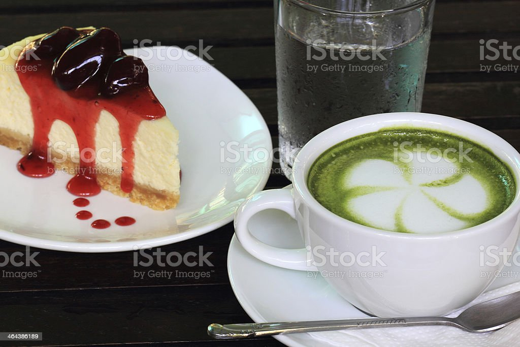 Strawberry cheese cake and Green tea Latte royalty-free stock photo