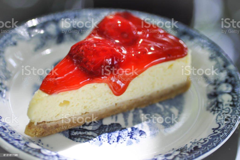 strawberry cheesecake or strawberry cheese tart stock photo