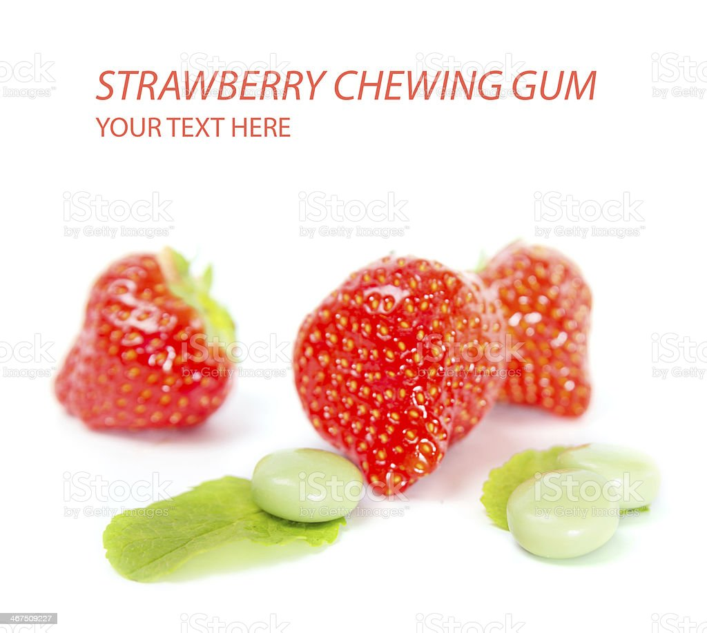 Strawberry chewing gum stock photo