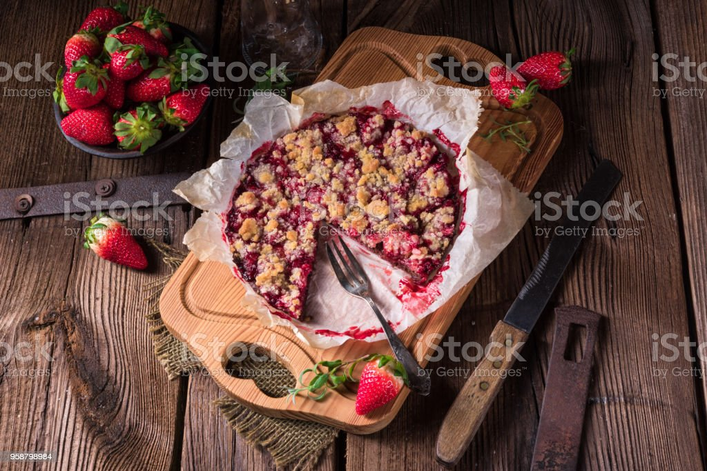 strawberry chocolate tart - fotografia de stock