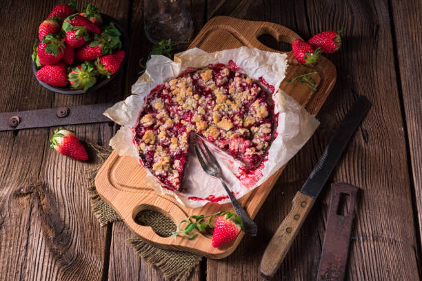 strawberry chocolate tart - fotografia de stock