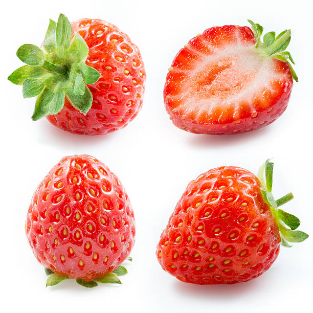 strawberry. collection isolated on white - wilde aardbei stockfoto's en -beelden