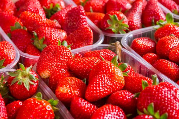Erdbeer-Container Markt frische helle rote Closeup Textur – Foto