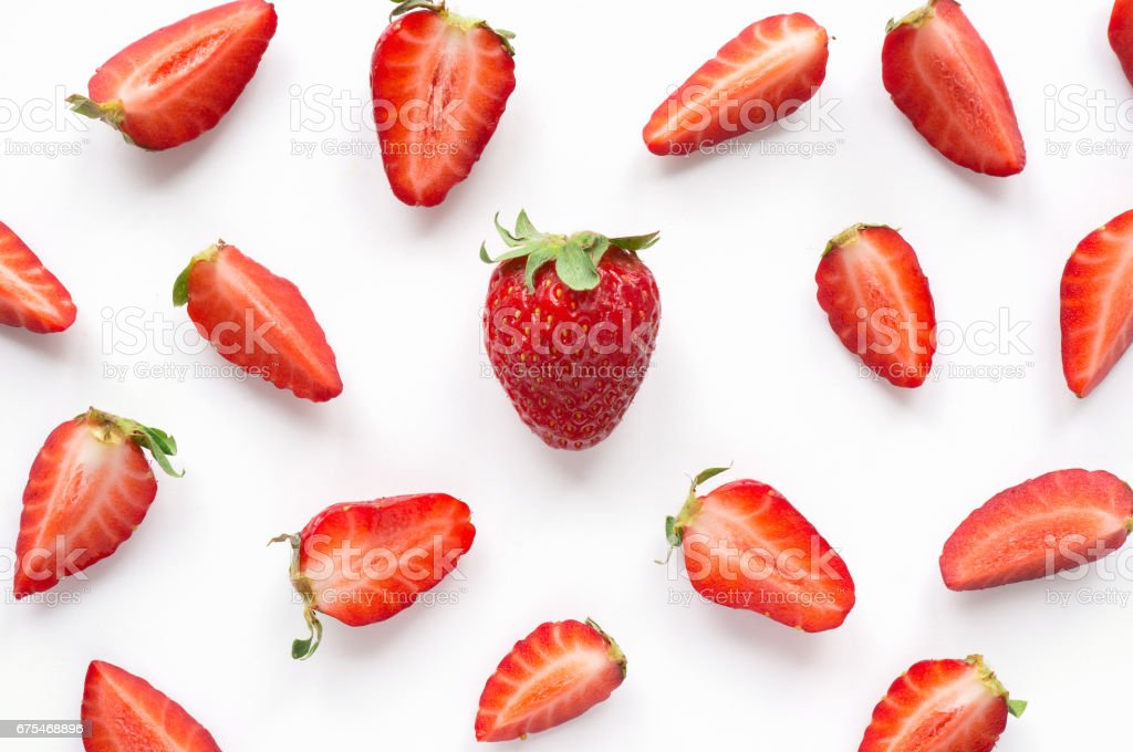 Strawberry creative pattern. stock photo