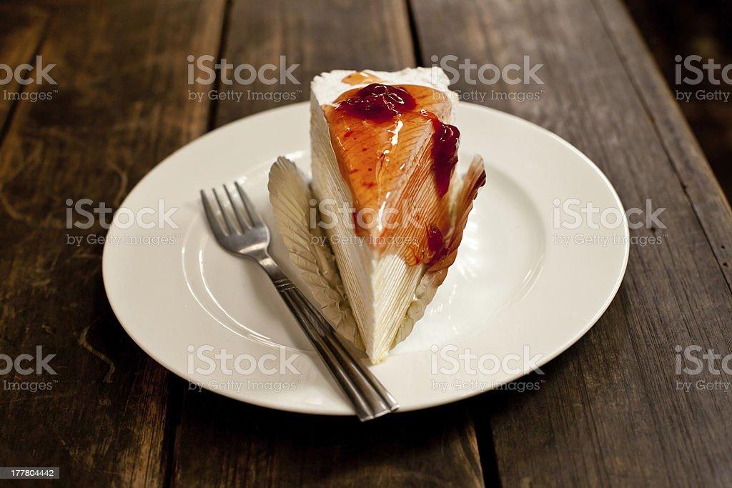 Strawberry Crepe Cake. stock photo