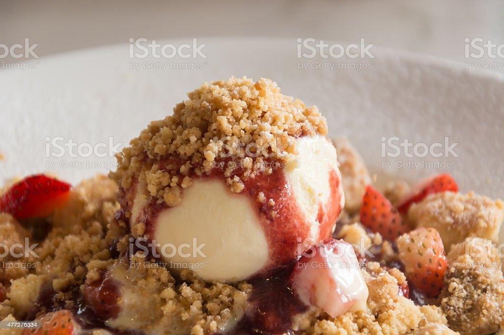 Strawberry Crumble Pancake on plate Strawberry Crumble Pancake on plate 2015 Stock Photo