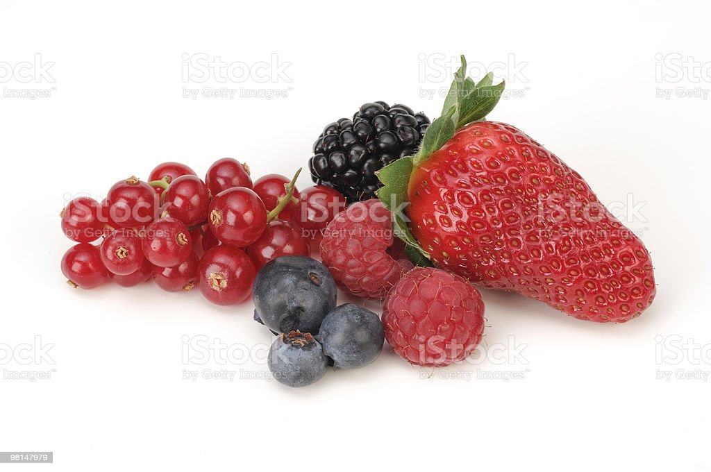 Fragola, ribes, mirtilli, lamponi, mora foto stock royalty-free