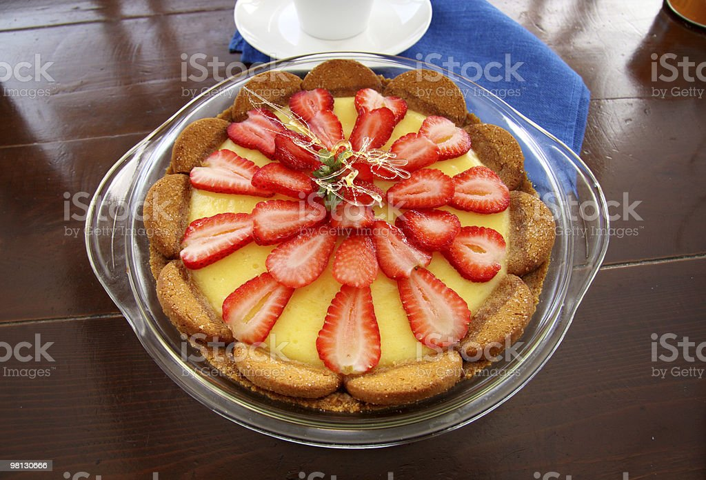 Strawberry Custard Biscuit Tart royalty-free stock photo
