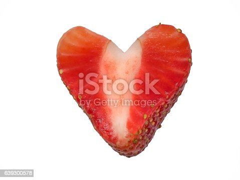 104822052istockphoto Strawberry Cut Into a Heart Shape on White Background 639300578