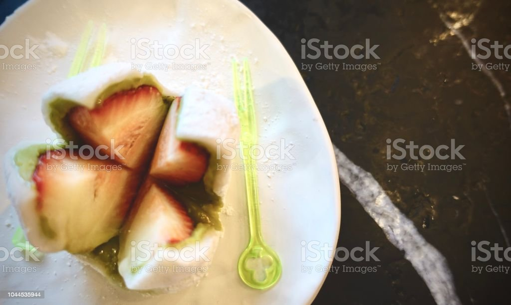Strawberry Daihukuis A Soft Rice Cake Stuffed With Sweet Bean Paste And A  Strawberry Ichigo Daifuku Japanese Confection Made From A Strawberry And